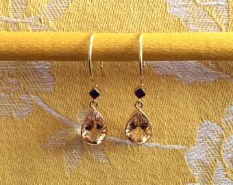 Handmade Citrine & Garnet Earrings