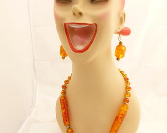 Large Chunky Reconstituted Amber Big Bead Necklace and Earrings
