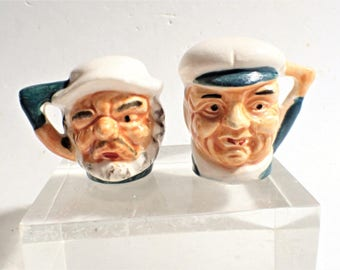 Toby Mug Salt And Pepper Shakers Stick Pin Holder Vintage Kitchen Kitsch Nautical