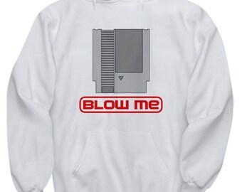 Nintendo Cartridge Blow Me Hoodie Gamer Nerd Gift Geek Dork Nerdy