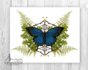 Butterfly Art Print, Botanical Butterfly Wall Art, Blue Butterfly Art, Botanical Decor, Butterfly Artwork, Vintage Botanical Butterfly Art