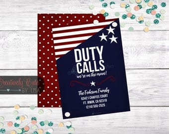 Military / Duty Calls / We've Moved / Partiotic / Address Change / Moving Announcement / Printable / Template