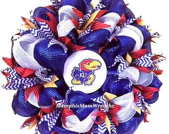 Kansas Jayhawks Deco Mesh Wreath - Deco Mesh Wreath - Jayhawks Wreath - Kansas Jayhawks Wreath