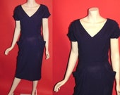 ON SALE Vintage 1960's Bombshell PinUp 60's Purple Knit Cocktail Womens Dress -S