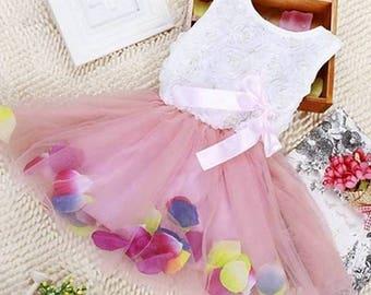 White and Pink Rose Petal Dress