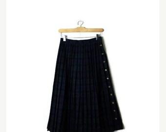 ON SALE Vintage Dark Green/Blue Tartan Plaid  Wool  Pleated Skirt from 1980's/W24*