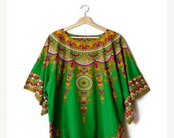 ON SALE Vintage Green/Colorful Ethnic Cotton Short Sleeve Tunic from 1980's*