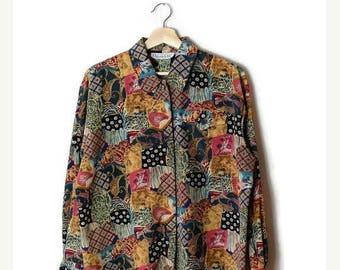 ON SALE Vintage Multi pattern patchwork /Collage Long  sleeve Slouchy Blouse from 1980's*