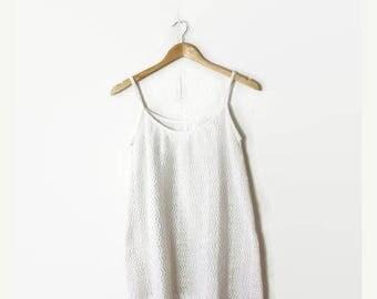 ON SALE Vintage White Crochet  Sleeveless Mini Dress/Sundress  from 80's*