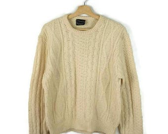Vintage Cable Knit Fisherman / Aran Style Acrylic Sweater from 1980's/Minimal/JC Penny*
