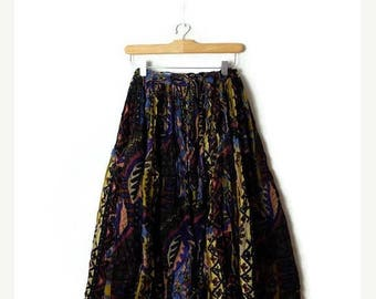 ON SALE Vintage Abstract  Cotton Long Flare Skirt from 1980's*