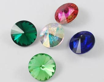 10 x faceted gemstones, Rivoli, chatons, color mix, 12 mm