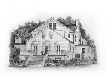 Custom 8x10 House Sketch