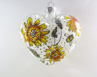 Limited Edition Hand Painted Heart Shaped  Sunflower Christmas Tree Decoration