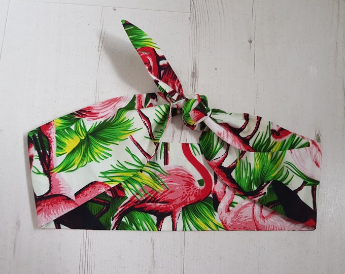 Pink & White Flamingo Head Scarf - Pin Up Hairband Hair Wrap Retro Tropical Palm Tree Holiday - With or Without Wire