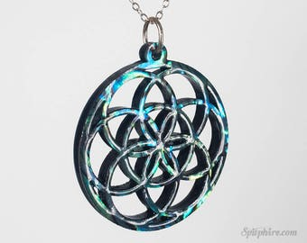 Flower of Life Necklace - Large - Abalone - Sacred Geometry Necklace - Laser Cut