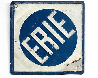 Railway Logo, Erie Railroad, New York, Post Cereal Sign, Navy Blue White, Metal Sign, 1950s Railway Advertising Collectible Memorabilia