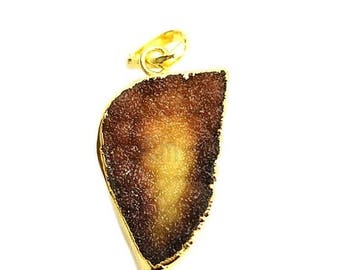 45% OFF Rough Geode Druzy Pendant 22k Gold Electroplated Gemstone Druzy Necklace Pendant (NP-50899)