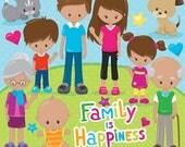 80% OFF SALE Happy family clipart commercial use, grandparents, vector graphics, digital clip art, digital images - CL855