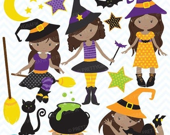 80% OFF SALE Halloween witches clipart commercial use, vector graphics, digital clip art, digital images - CL706