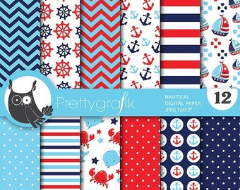 80% OFF SALE Nautical paper digital papers, commercial use, scrapbook papers, background - PS693