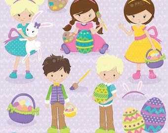 80% OFF SALE easter kids clipart commercial use, vector graphics, digital clip art, digital images - CL641