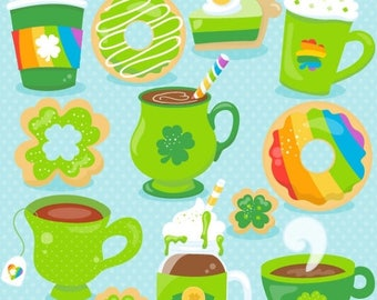 80% OFF SALE St-Patrick's coffee clipart commercial use, vector graphics, fox digital clip art, digital images  - CL1061