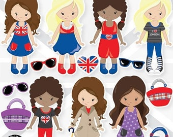 80% OFF SALE London girls clipart commercial use, fashion girls vector graphics, girl digital clip art, london digital images  - CL987