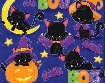 80% OFF SALE Halloween cat clipart commercial use, vector graphics, digital clip art, digital images, kitties- CL913