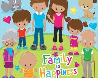 80% OFF SALE Happy family clipart commercial use, grandparents, vector graphics, digital clip art, digital images - CL855