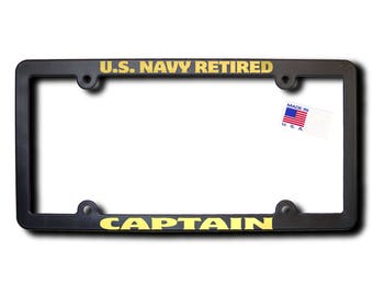 U.S. NAVY Retired CAPTAIN License Frame w/Reflective Gold Lettering