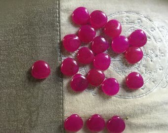 20 Pcs. Natural Died Agate Teardrop Beads Fuchsia Color 13 mm
