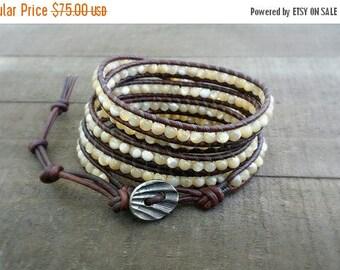 SUMMER SALE mother of pearl 5x leather wrap bracelet boho bracelet spring summer bracelet beach bracelet earthy bracelet