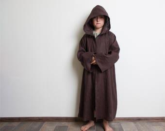 Jedi Robe, Brown Linen Robe, Hooded Robe for Children, Boys Halloween Costume
