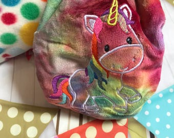 Unicorn embroidered rainbow minky OSFM nappy wrap/nappy cover- PUL nappy cover-One size fits most nappy wrap- cloth nappy-cuddleplush wrap