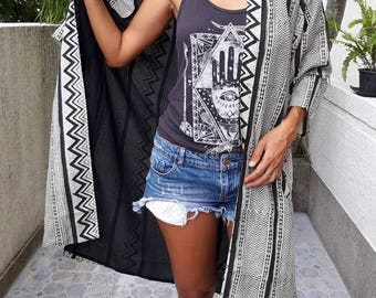 High Fashion Tribal Jacket/Boho long Jacket/Summer Kimono Jacket/Bohemian long Jacket/Bikini cover up/Festival light jacket.