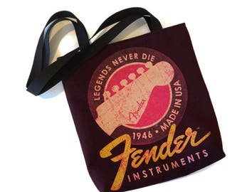 Fender Bag • Upcycled Fender Tee Shirt Bag • Shoulder Bag • Tote Bag • Fender Gift