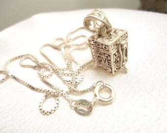 "Vintage Sterling Box Locket, Prayer Or Pill Box Necklace With 18"" Box Necklace"