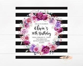 30th Birthday Invitation for Her - Birthday Invitation for Women - Bridal Shower Invitation - Baby Shower Invitation - Square Invitations