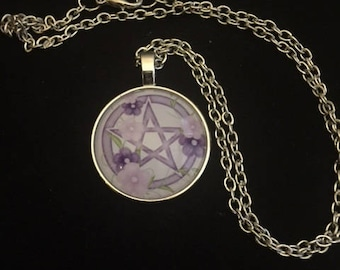 Purple and Pink Pentacle Cabochon Necklace