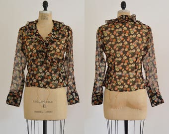 Bouquet Blouse / 1990s silk wrap blouse / vintage floral wrap top