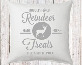 Reindeer Treats Pillow and Insert North Pole Christmas Decoration Christmas Saying Holiday Pillow Red White Christmas