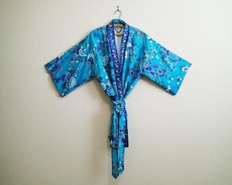 Blue Silk Kimono Robe Short M L XL One Size JAPAN