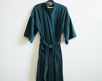 Soft Velour Green Robe Mod One Size - Warm and Plush - Grodins Kimono Robe - Short Robe