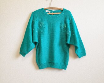 Beaded Green Sweater Medium Large - Loose Dolman Sweater