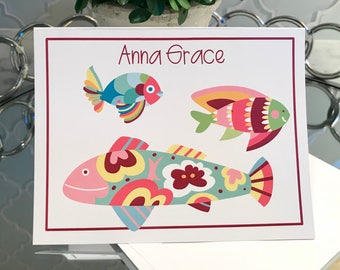 "Personalized, Colorful Fish Notecards, Set of 10, 5.5""x4.25"""