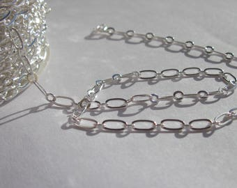 1 meter of soldered silver metal (A21) - oval link chain
