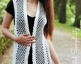 Crochet Pattern: Adalene Cabled Vest, Sizes XS thru 5X **Permission to sell finished items