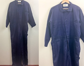 Vintage Blue WORKWEAR Coveralls Jumpsuit Boilersuit Indura 80s XL