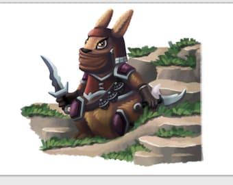 Rabbit Assassin greeting card